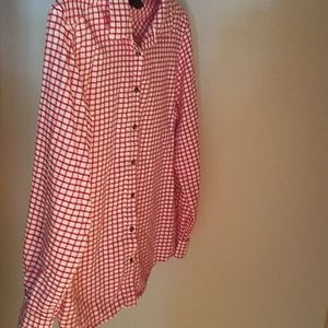 Lands' End red and white flannel button down shirt